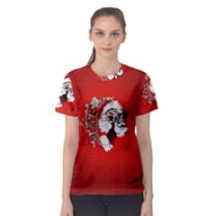 Funny Santa Claus  On Red Background Women s Sport Mesh Tee by FantasyWorld7