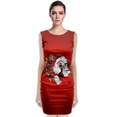 Funny Santa Claus  On Red Background Classic Sleeveless Midi Dress