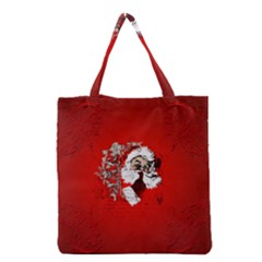 Funny Santa Claus  On Red Background Grocery Tote Bag by FantasyWorld7