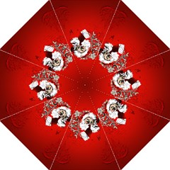 Funny Santa Claus  On Red Background Folding Umbrellas by FantasyWorld7