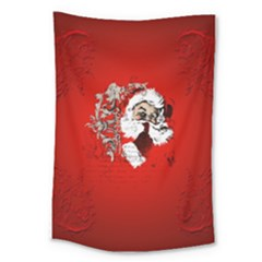 Funny Santa Claus  On Red Background Large Tapestry by FantasyWorld7