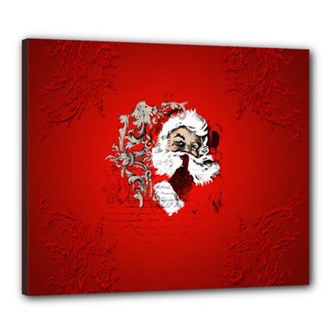 Funny Santa Claus  On Red Background Canvas 24  X 20  by FantasyWorld7