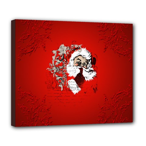 Funny Santa Claus  On Red Background Deluxe Canvas 24  X 20   by FantasyWorld7