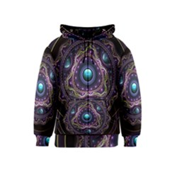 Beautiful Turquoise And Amethyst Fractal Jewelry Kids  Zipper Hoodie by jayaprime