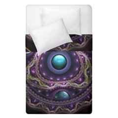 Beautiful Turquoise And Amethyst Fractal Jewelry Duvet Cover Double Side (single Size) by jayaprime