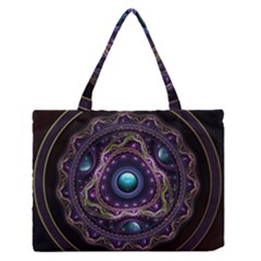 Beautiful Turquoise And Amethyst Fractal Jewelry Medium Zipper Tote Bag by jayaprime