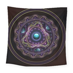 Beautiful Turquoise And Amethyst Fractal Jewelry Square Tapestry (large) by jayaprime