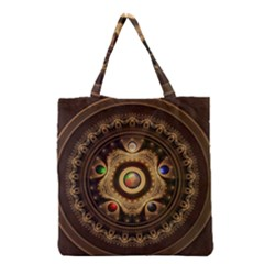 Gathering The Five Fractal Colors Of Magic Grocery Tote Bag by jayaprime