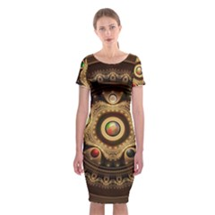 Gathering The Five Fractal Colors Of Magic Classic Short Sleeve Midi Dress by jayaprime