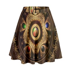 Gathering The Five Fractal Colors Of Magic High Waist Skirt by jayaprime