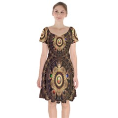 Gathering The Five Fractal Colors Of Magic Short Sleeve Bardot Dress by jayaprime