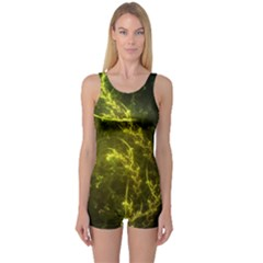Beautiful Emerald Fairy Ferns In A Fractal Forest One Piece Boyleg Swimsuit by jayaprime