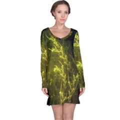 Beautiful Emerald Fairy Ferns In A Fractal Forest Long Sleeve Nightdress by jayaprime