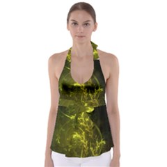 Beautiful Emerald Fairy Ferns In A Fractal Forest Babydoll Tankini Top by jayaprime
