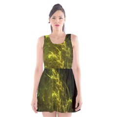 Beautiful Emerald Fairy Ferns In A Fractal Forest Scoop Neck Skater Dress by jayaprime