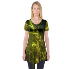 Beautiful Emerald Fairy Ferns In A Fractal Forest Short Sleeve Tunic  by jayaprime