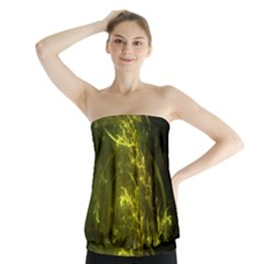 Beautiful Emerald Fairy Ferns In A Fractal Forest Strapless Top by jayaprime
