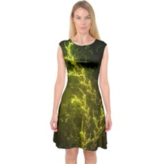 Beautiful Emerald Fairy Ferns In A Fractal Forest Capsleeve Midi Dress by jayaprime