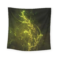 Beautiful Emerald Fairy Ferns In A Fractal Forest Square Tapestry (small) by jayaprime