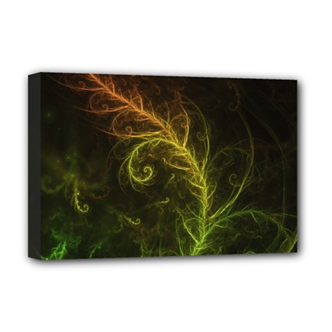 Fractal Hybrid Of Guzmania Tuti Fruitti And Ferns Deluxe Canvas 18  X 12   by jayaprime