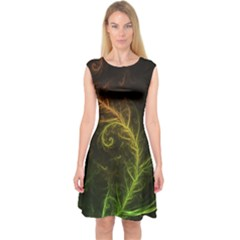 Fractal Hybrid Of Guzmania Tuti Fruitti And Ferns Capsleeve Midi Dress by jayaprime