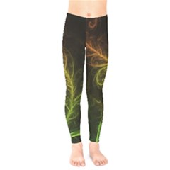 Fractal Hybrid Of Guzmania Tuti Fruitti And Ferns Kids  Leggings  by jayaprime