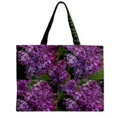 Purple Flowers Medium Zipper Tote Bag by SusanFranzblau