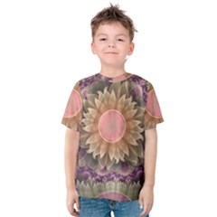 Pastel Pearl Lotus Garden Of Fractal Dahlia Flowers Kids  Cotton Tee by jayaprime