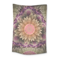 Pastel Pearl Lotus Garden Of Fractal Dahlia Flowers Small Tapestry by jayaprime