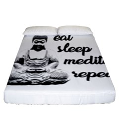 Eat, Sleep, Meditate, Repeat  Fitted Sheet (king Size) by Valentinaart