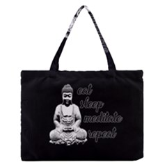Eat, Sleep, Meditate, Repeat  Medium Zipper Tote Bag by Valentinaart