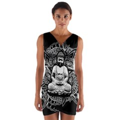 Ornate Buddha Wrap Front Bodycon Dress by Valentinaart