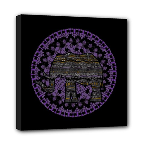 Ornate Mandala Elephant  Mini Canvas 8  X 8  by Valentinaart
