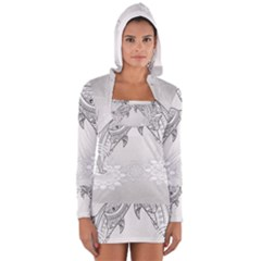 Beautiful Dolphin, Mandala Design Women s Long Sleeve Hooded T-shirt by FantasyWorld7