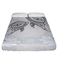 Beautiful Dolphin, Mandala Design Fitted Sheet (king Size) by FantasyWorld7