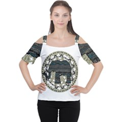 Ornate Mandala Elephant  Women s Cutout Shoulder Tee