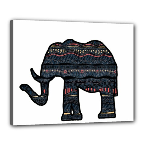 Ornate Mandala Elephant  Canvas 20  X 16  by Valentinaart