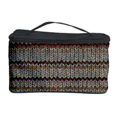 Stripy Knitted Wool Fabric Texture Cosmetic Storage Case