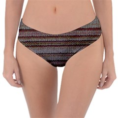 Stripy Knitted Wool Fabric Texture Reversible Classic Bikini Bottoms