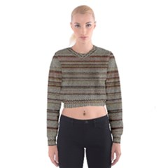 Stripy Knitted Wool Fabric Texture Cropped Sweatshirt