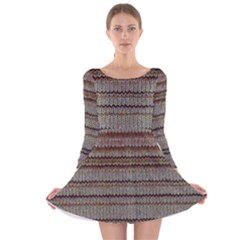 Stripy Knitted Wool Fabric Texture Long Sleeve Velvet Skater Dress by BangZart