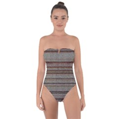 Stripy Knitted Wool Fabric Texture Tie Back One Piece Swimsuit by BangZart