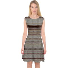 Stripy Knitted Wool Fabric Texture Capsleeve Midi Dress