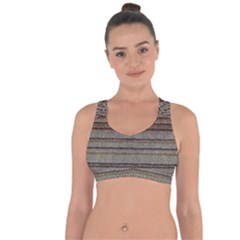 Stripy Knitted Wool Fabric Texture Cross String Back Sports Bra by BangZart
