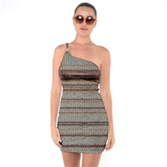 Stripy Knitted Wool Fabric Texture One Soulder Bodycon Dress