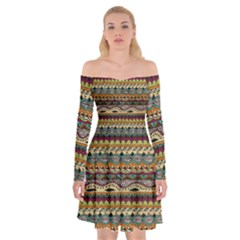 Aztec Pattern Off Shoulder Skater Dress