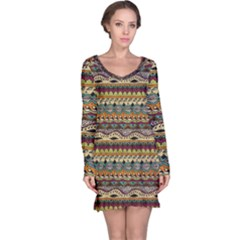 Aztec Pattern Long Sleeve Nightdress by BangZart