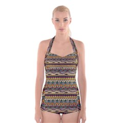 Aztec Pattern Boyleg Halter Swimsuit  by BangZart