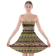 Aztec Pattern Strapless Bra Top Dress