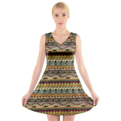 Aztec Pattern V Neck Sleeveless Skater Dress by BangZart